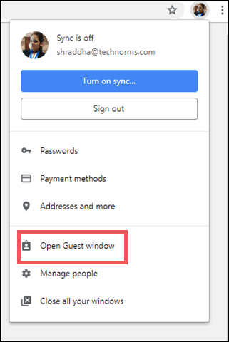 use guest window