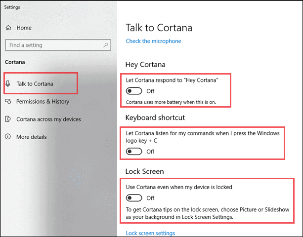 disable cortana from settings app