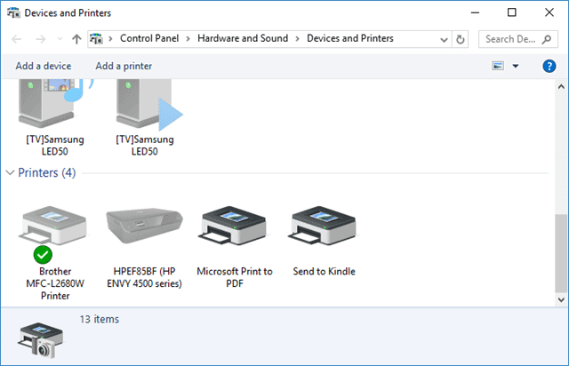 Control Panel Devices and Printers settings