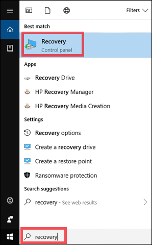 Go to Restore point by searching recovery in the search bar