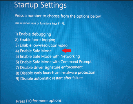 Select Enable Safe Mode