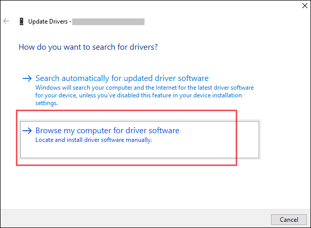 browse your computer for driver update file
