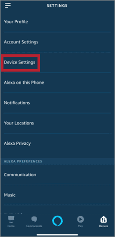 Click on Device Settings