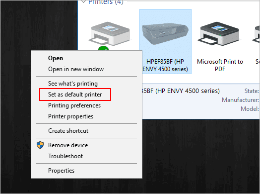 Set as default printer in Windows 10
