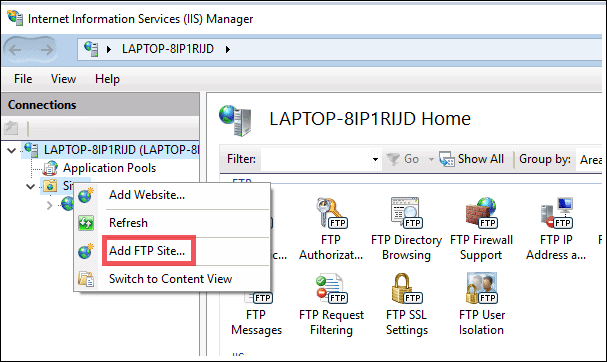add ftp site to setup ftp server