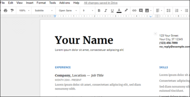 create professional looking resume with google docs  3
