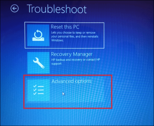 Troubleshoot and select advanced options