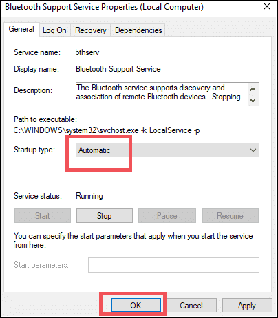 select automatic to turn on bluetooth on windows 10