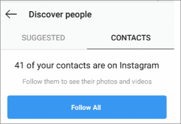 contact list intagram search user