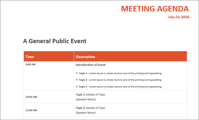 general public event board meeting ms office