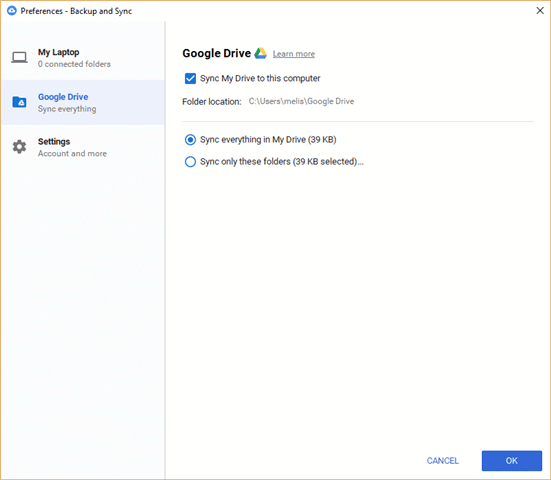Backup and Sync Google Drive preferences
