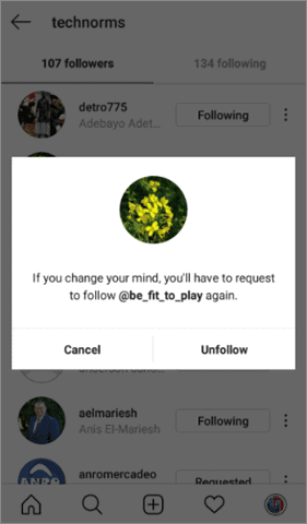 Click on Unfollow to unfollow instagram users