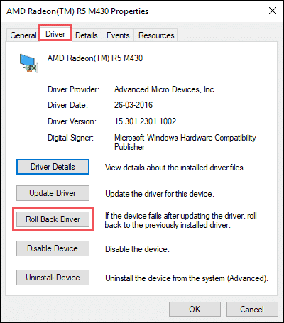 rollback driver when your pc ran into a problem and needs to restart