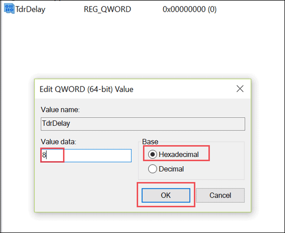 Enter the value data for the new added value