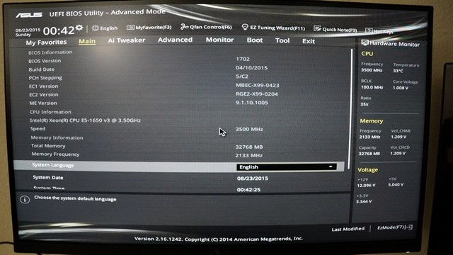 ASUS UEFI BIOS Utility - Advanced Mode settings
