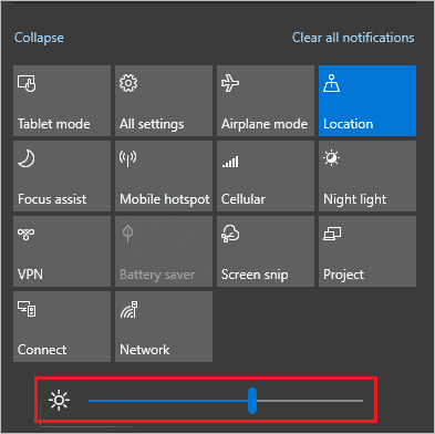 Action Center to Control brightness Windows 10