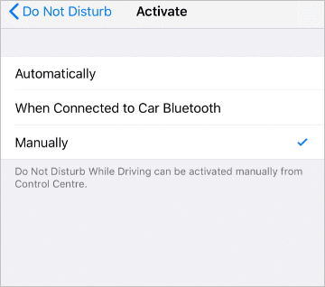 Activate Do not disturb while driving