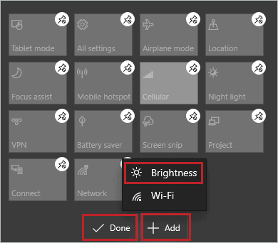Add brightness to the quick action to fix Windows 10 brightness slider is missing