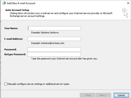 Add new email account to fix cannot start microsoft outlook
