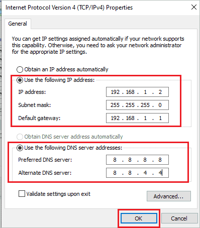 Change IP and DNS addresses