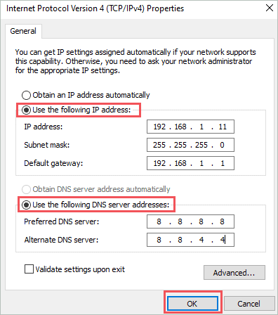 Add the address manually to fix the default gateway is not available windows 10