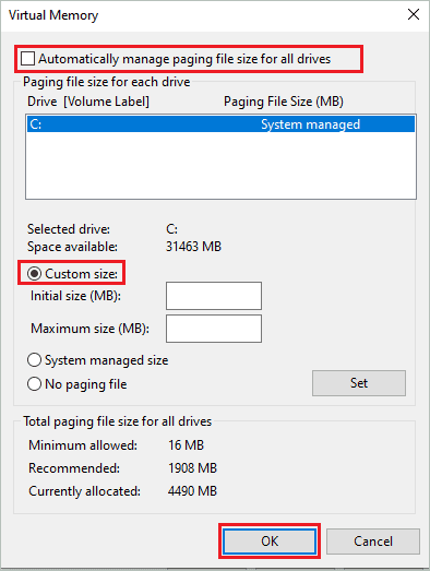 Change virtual memory size for how to increase VRAM
