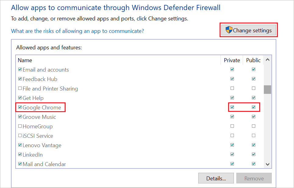 Allow Google Chrome through Firewall