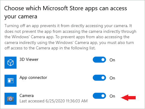 Allow other apps to access camera
