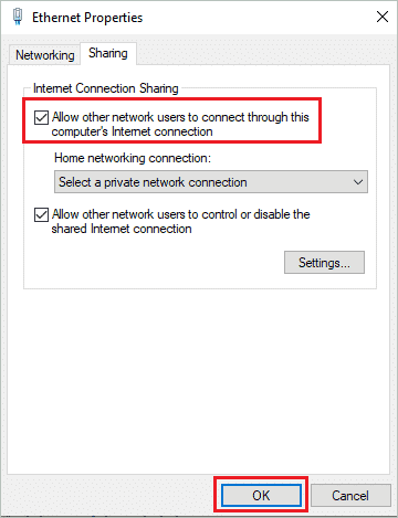 Allow other network users to connect to computer Internet