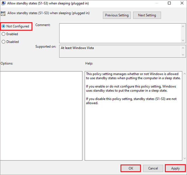 Allow standby states when sleeping plugged in not configured
