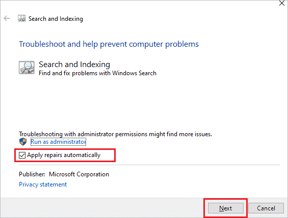 Apply repairs automatically when windows 10 search not working
