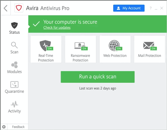 Avira Antivirus best malware removal software