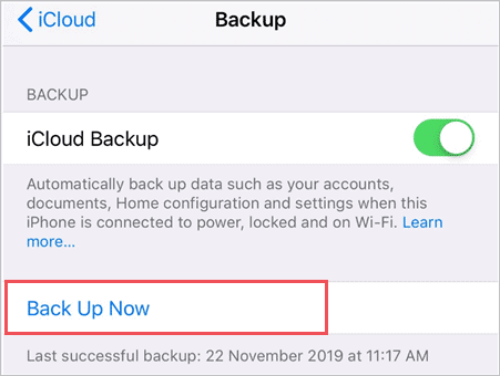 click on Back Up Now button