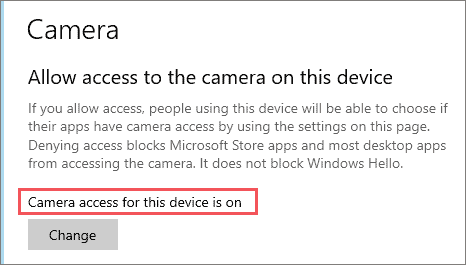 Change the camera access settings to fix webcam not working