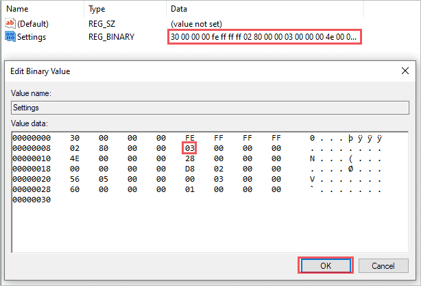 Change the 13th value in the Settings registry value