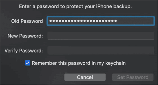 Change and verify password to encrypt backup