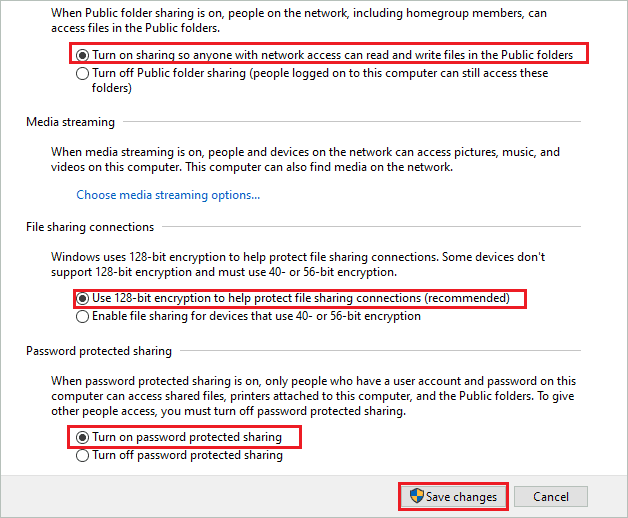 Change network settings for all networks to fix computer not showing up on network