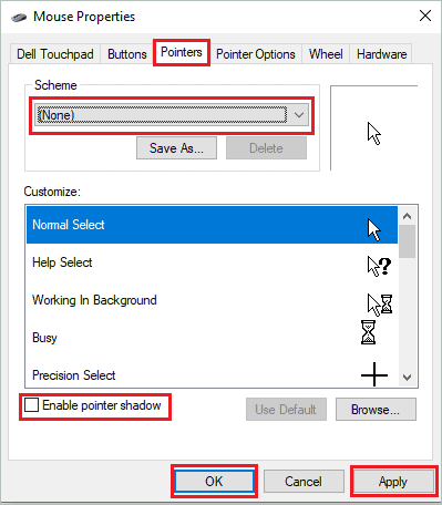 Make changes in the Pointer tab
