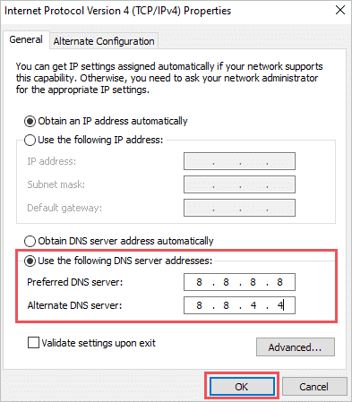 Change the DNS server address to fix ethernet not working windows 10