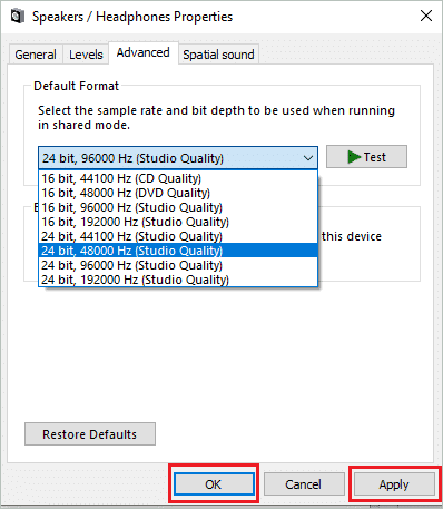 Changing audio formats to fix no sound on computer