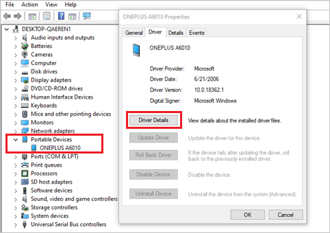 Check Driver Details in device Manager