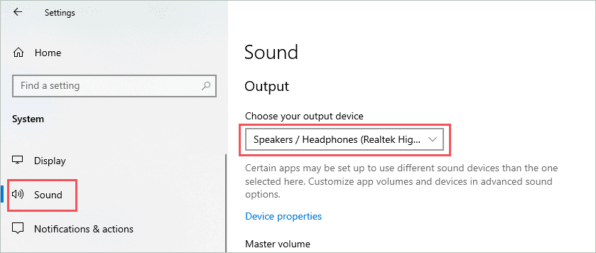 Check audio output device to fix sound not working windows 10