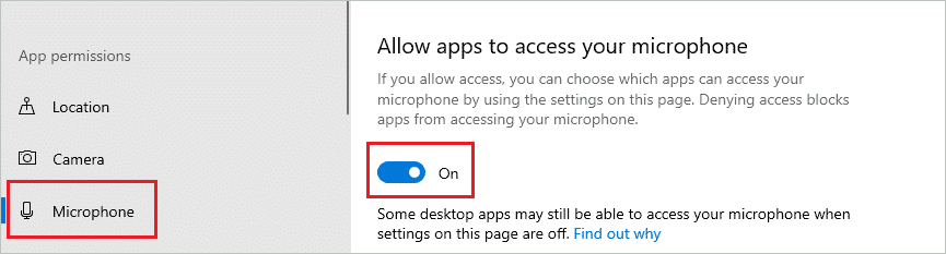 Give microphone access to your apps to fix sound not working windows 10