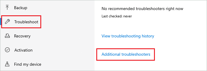 Open Additional troubleshooters