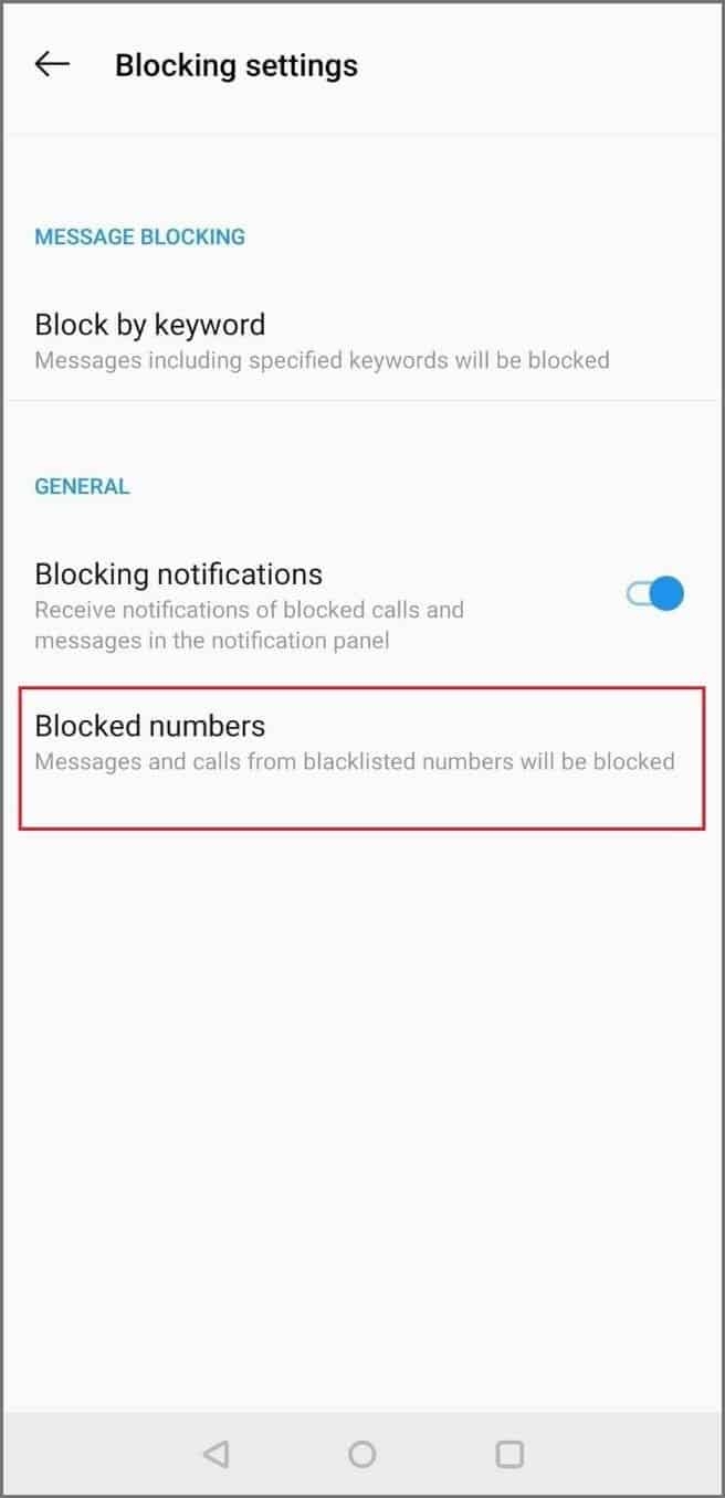 Click on Blocked numbers