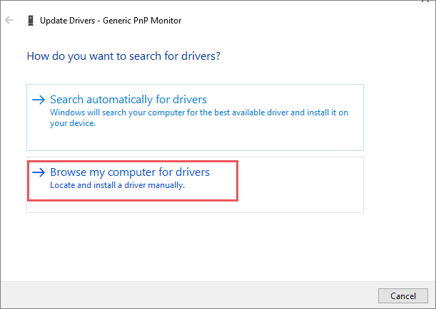 Click on Browse my computer for drivers
