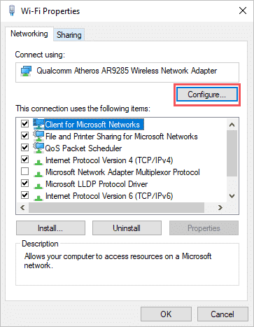Click on Configure to change mac address windows 10