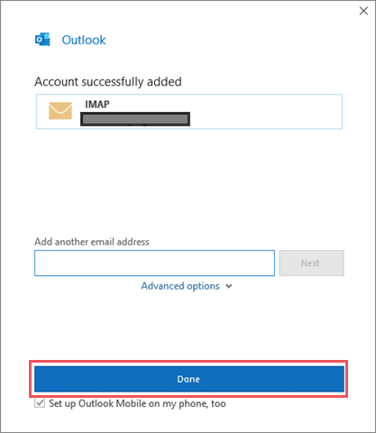 Click on Done to add the gmail to outlook
