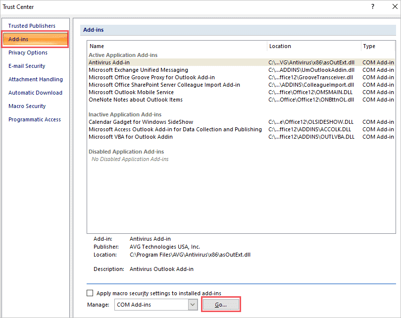Click on Go to manage add ins to fix cannot start microsoft outlook error