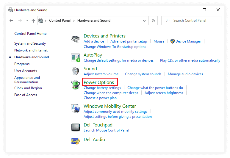 Click on Power option